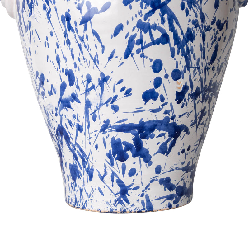 Lamps Splashed Blue on White Rounded Urn with Knots Ceramic Lamp Base Penny Morrison BASE STYLE_ROUNDED URN, BLUE AND WHITE, BOLD, CERAMIC, COLOUR_BLUE, KNOTS, LAMP, LAMP BASE, LAMPS, LIGHTING, QUIRKY, SPLASHED BLUE, SPLATTER, STATEMENT, UNIQUE, URN, WHITE