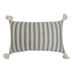 Cushions Ticking Stripe Ocean & Nankeeng Blue Cushion with White Tassels Penny Morrison accessory, blue, boy, COLOUR_BLUE, cushion, Indian, linen, lines, long, masculine, nautical, neutral, PATTERN_STRIPES, pillow, rectangle, simple, soft, stripes, tassels