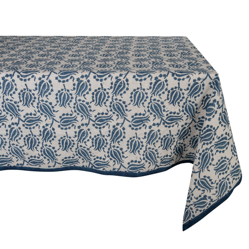 Blue and White Tulip Tablecloth