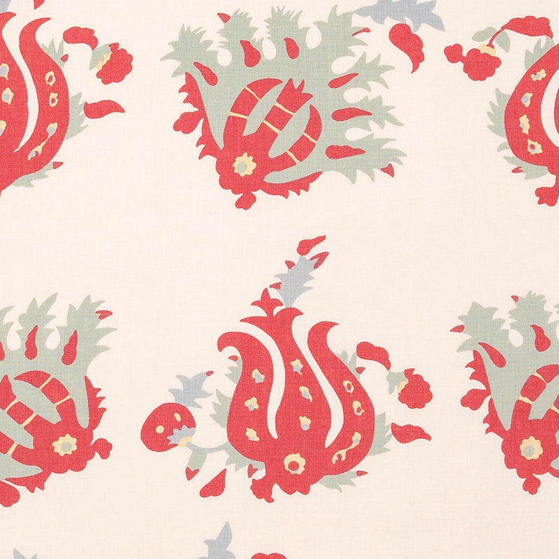 Fabrics Turkoman Penny Morrison BOLD, COLOUR_RED, DESIGNER_PENNY MORRISON, DETAILED, FLOWER, FLOWERS, GRID, ILLSUTRATIVE, LARGE PATTERN, PATTERN_FLORAL, TURKISH