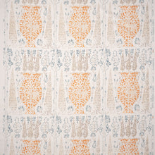 Fabrics Vasari Blue/Orange Penny Morrison ANTIQUE, COLOUR_BROWN, COLOUR_ORANGE, DESIGNER_PENNY MORRISON, FADED, MEDIEVAL, PATTERN_FLORAL, SUBTLE, TAPESTRY, VINTAGE