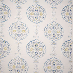 Fabrics Waverton Blue Penny Morrison CIRCULAR, COLOUR_BLUE, DESIGNER_PENNY MORRISON, DIAMONDS, ethnic, LINES, PATTERN_ABSTRACT, ROUND