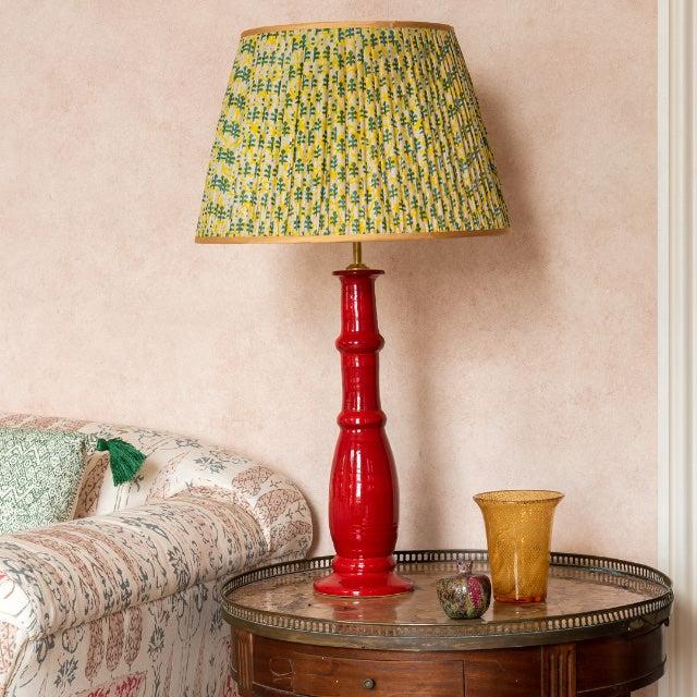 Lampshade Yellow and Green Leaf Pleated Silk Lampshade with Gold Trim Penny Morrison COLOUR_GREEN, COLOUR_YELLOW, Empire, Gathered, Golden, Lamp, Lampshade, Patterned, Pleated, Shade, Straight, Trim, Yellow