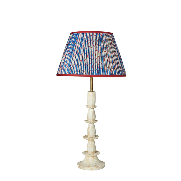 "Limited Edition Blue Stripe and Red Squiggle Patterned Pleated Silk Lampshade with Red Trim 14"" UK Fitting"