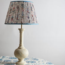 Lampshade Mughal Lampshade with Light Blue Trim Penny Morrison COLOUR_BLUE, Cream, Empire, Gathered, Lamp, Lampshade, mughal, Patterned, Pleated, Shade, Straight