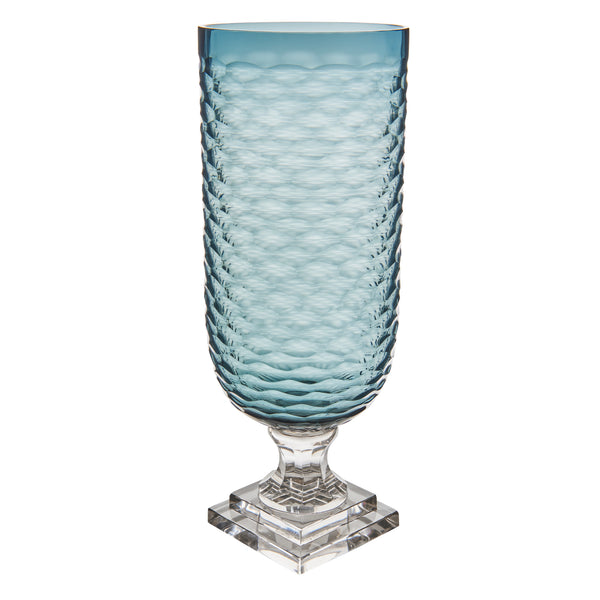 Hurricane Lamp Blue Glass Wavy Ribbed Hurricane Lamp Penny Morrison Candle Holder, COLOUR_BLUE, Cylinder, Dining, garden party, Geometric, Glass, Hurricane Lamp, large, Patterned, Purple, Set Up, Table Accessory, Vase
