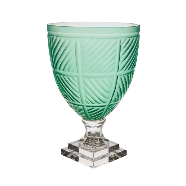 Hurricane Lamp Blue Glass with Taper Ribbed Hurricane Lamp Penny Morrison Candle Holder, COLOUR_BLUE, COLOUR_GREEN, Cylinder, Dining, garden party, Geometric, Glass, Hurricane Lamp, large, Patterned, Purple, Set Up, Table Accessory, Vase
