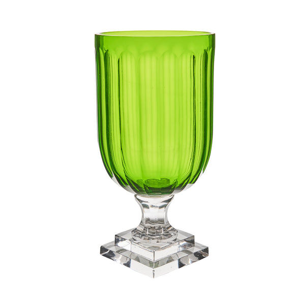 Hurricane Lamp Green Glass Thumb Cut Hurricane Lamp Penny Morrison Candle Holder, COLOUR_GREEN, Cylinder, Dining, garden party, Geometric, Glass, Hurricane Lamp, large, Patterned, Purple, Set Up, Table Accessory, Vase