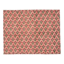 Tableware Peach Small Flower Reversible Table Mat Penny Morrison COLOUR_PINK, Floral Motif, orange flower, PATTERN_FLORAL, pretty, quilted, STRIPE, STRIPEY, TABLE LINEN, TABLE MAT, wiggle