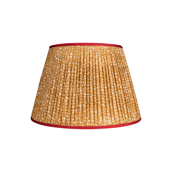 Penny-Morrison-Brown-and-White-Spotted-Pleated-SIlk-Lampshade-with-Pink-Trim-Straight-Empire-Pleated-Gathered-Unique-Stylish-Colourful-Quirky-Spotted-Patterned