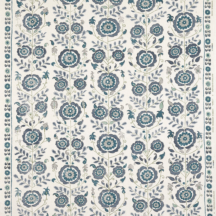 Fabrics Simla Blue Penny Morrison CIRCLE, COLOUR_BLUE, DESIGNER_PENNY MORRISON, FLOWERS, GARDEN, INTRICATE, MEDIEVAL, ORNAMENTAL, PATTERN_FLORAL, PRETTY, ROSE, VINES