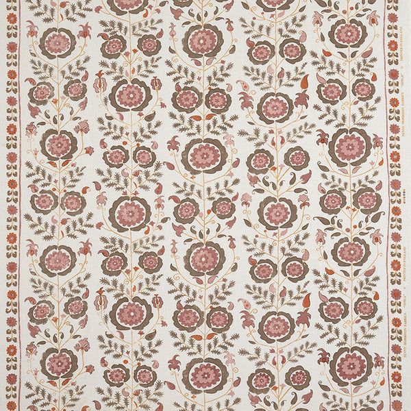 Fabrics Simla Brown/Pink Penny Morrison CIRCLE, COLOUR_BROWN, COLOUR_PINK, DESIGNER_PENNY MORRISON, FLOWERS, GARDEN, INTRICATE, MEDIEVAL, ORNAMENTAL, PATTERN_FLORAL, PRETTY, ROSE, VINES