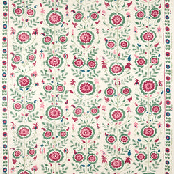 Fabrics Simla Pink/Green Penny Morrison CIRCLE, COLOUR_GREEN, COLOUR_PINK, DESIGNER_PENNY MORRISON, FLOWERS, GARDEN, INTRICATE, MEDIEVAL, ORNAMENTAL, PATTERN_FLORAL, PRETTY, ROSE, VINES