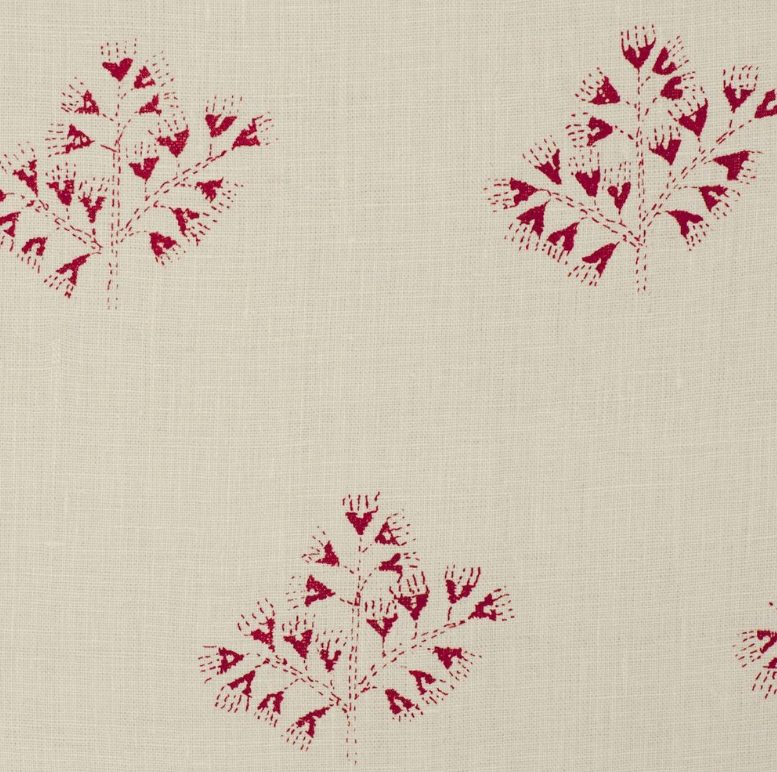Fabrics Anya Red Penny Morrison COLOUR_BLUE, COLOUR_RED, DESIGNER_PENNY MORRISON, Floral, flower, leaf, PATTERN_FLORAL, red, repeated, small pattern