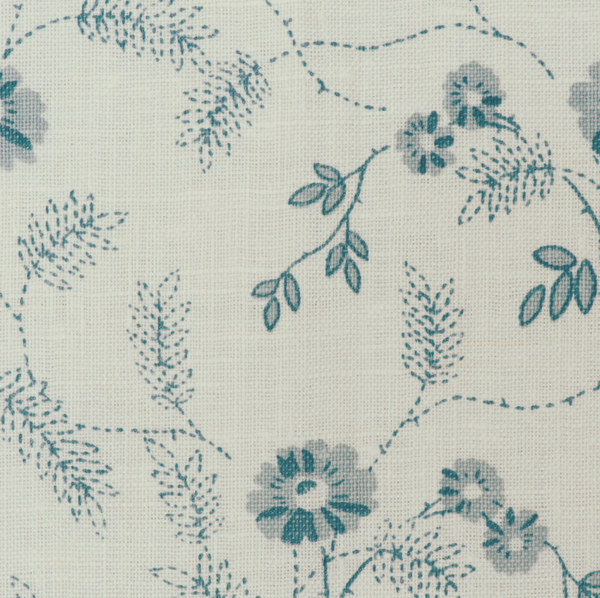 Fabrics Carla Blue Penny Morrison COLOUR_BLUE, DESIGNER_PENNY MORRISON, detail, FLOWERS, INTRICATE, leaf, PATTERN_FLORAL, SIMPLE