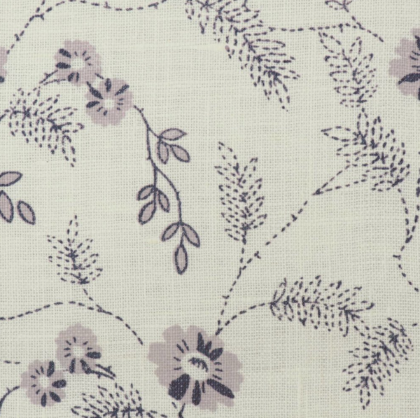 Fabrics Carla Lilac Penny Morrison COLOUR_BLUE, DESIGNER_PENNY MORRISON, detail, FLOWERS, INTRICATE, leaf, PATTERN_FLORAL, SIMPLE
