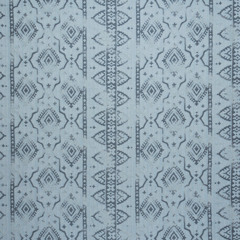 Fabrics Diamond Border Stripe Blue Penny Morrison COLOUR_BLUE, DESIGNER_PENNY MORRISON, DIAMONDS, ethnic, lines, PATTERN_GEOMETRIC, PATTERN_STRIPES, RUSTIC, VERTICAL, VINTAGE, WORN