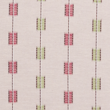 Fabrics Zig Zag Stripe Carnation/Leaf Penny Morrison BOLD, COLOUR_GREEN, COLOUR_PINK, DESIGNER_PENNY MORRISON, lines, PATTERN_STRIPES, QUIRKY, RECTANGLES, SQUARE, UNIQUE
