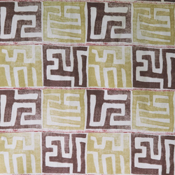 Fabrics Kenil Aubergine/Lime Penny Morrison AFRICAN, BOLD, COLOUR_BROWN, COLOUR_YELLOW, DESIGNER_PENNY MORRISON, ethnic, MAZE, PATTERN_ABSTRACT, SQUARES, STATEMENT, TILES, UNIQUE