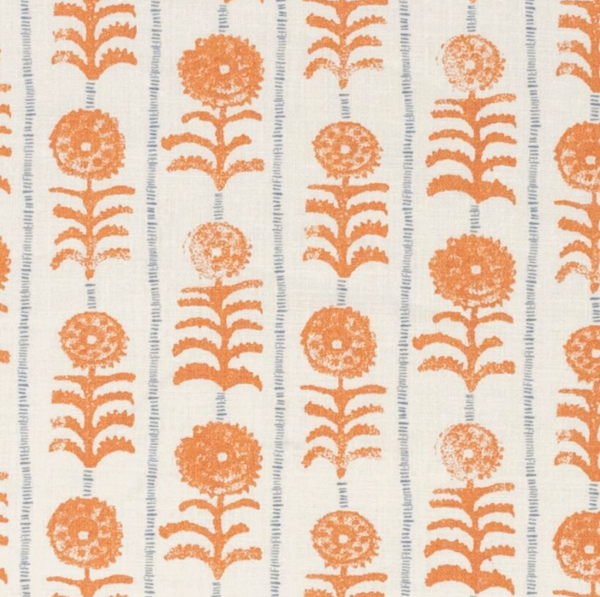 Fabrics Killi Stripe Orange Penny Morrison COLOUR_ORANGE, DESIGNER_PENNY MORRISON, flower, lines, PANELS, PATTERN_FLORAL, PATTERN_STRIPES, VERTICAL
