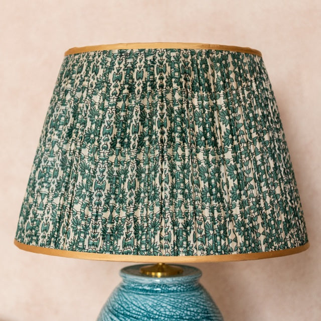 Lampshade Blue and Green Floral Pleated Silk Lampshade with Gold Trim Penny Morrison COLOUR_BLUE, COLOUR_GREEN, Empire, Gathered, Golden, Lamp, Lampshade, Patterned, Pleated, Shade, Straight, Trim