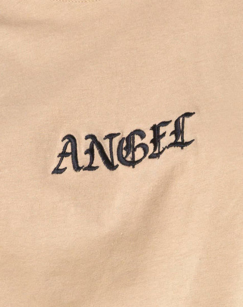 Oversize Basic Tee in Tan with Angel Embroidery by Motel