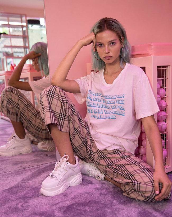 Oversize Basic Tee in Soft Pink with Almond Milk Girl Text by Motel X Top Girl