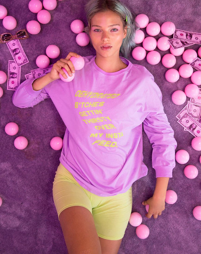 Lottie Longsleeve Tee in Lilac with Instafeed Text by Motel X Top Girl