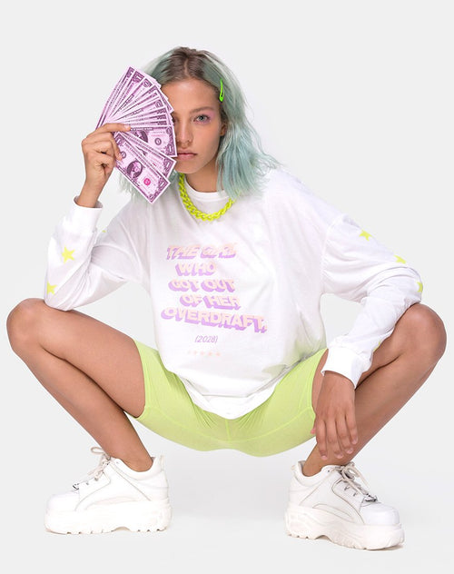 Lottie Longsleeve Tee in White with Overdraft Text by Motel X Top Girl