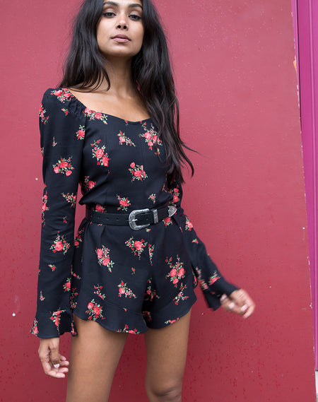 Nanic Plunge Playsuit in Snake Red by Motel