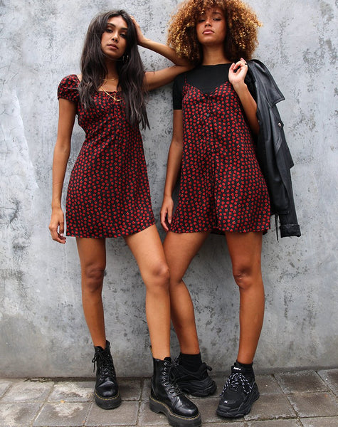 Gaval Mini Dress in Dotty Rose Black By Motel