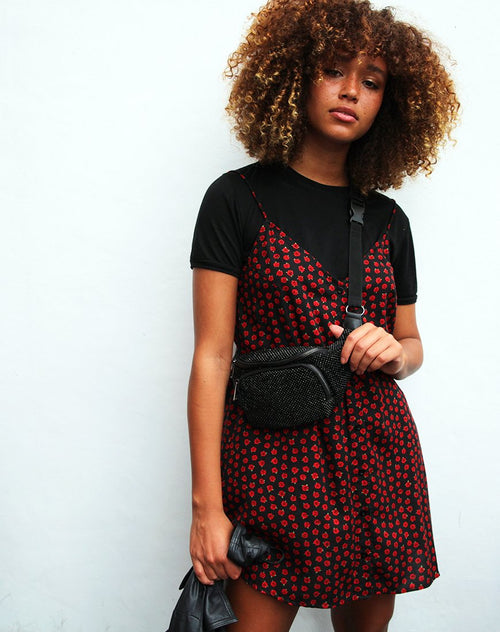 Sanna Slip Dress in Dotty Rose Black By Motel