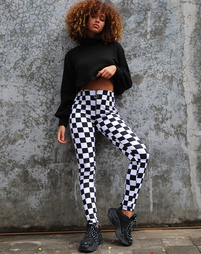 Jolim Trouser in Checker Board Medium B/W By Motel
