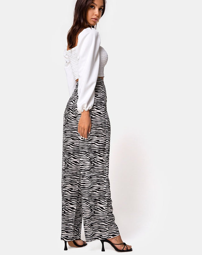Aely Wide Leg Palazo in Classic Zebra by Motel
