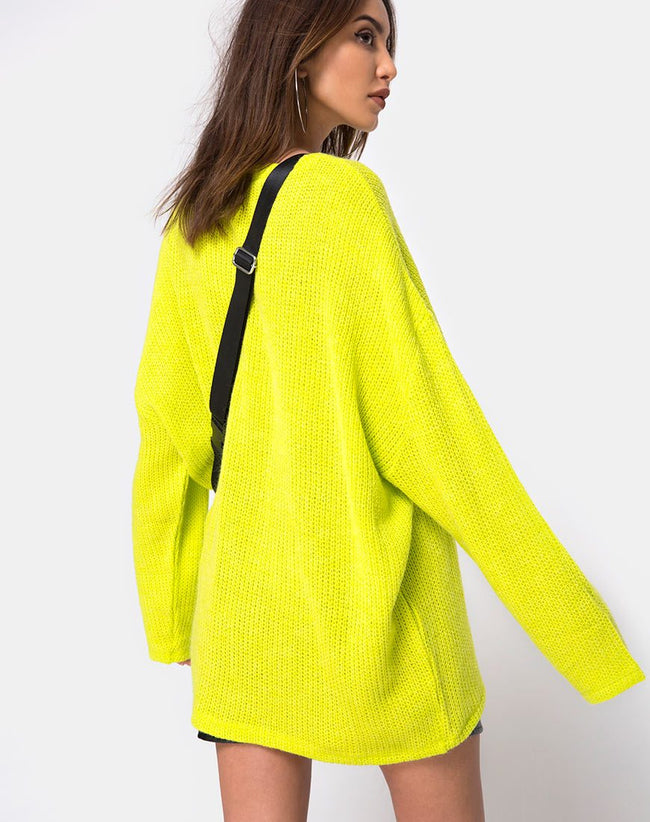 Ajie Oversize Jumper in Lime by Motel