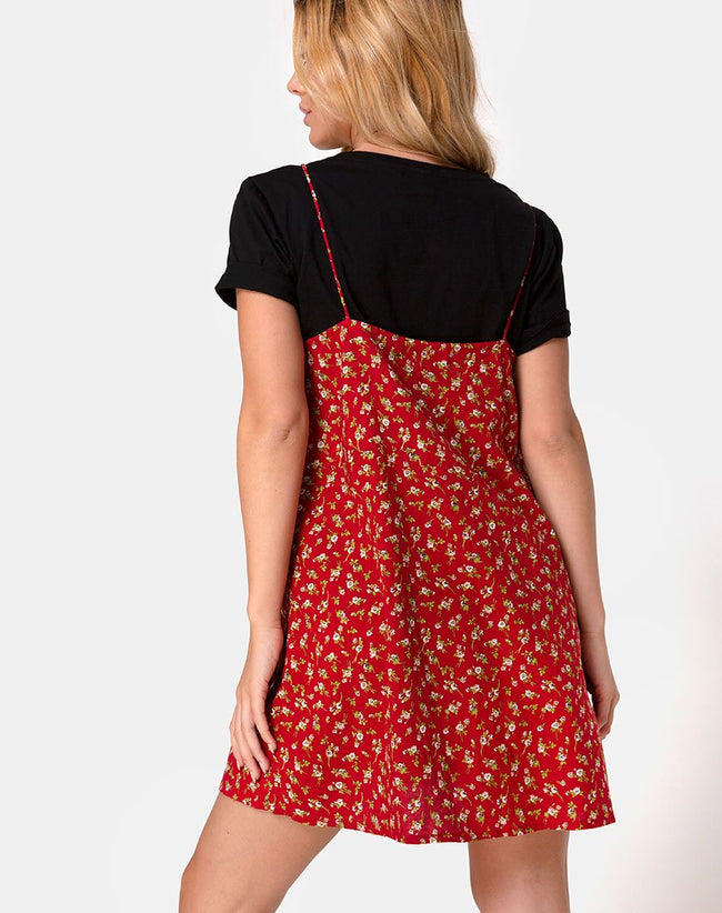 Akina Dress in Falling For You Floral Red by Motel