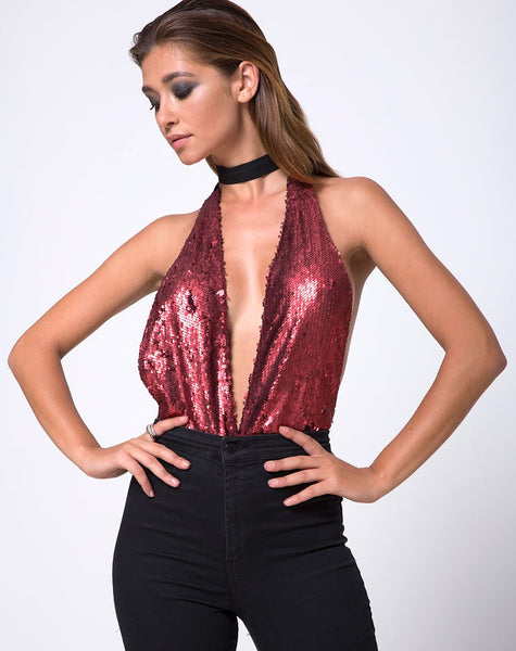 Ally Plunge Bodice in Fishcale Matte Sequin Wine by Motel
