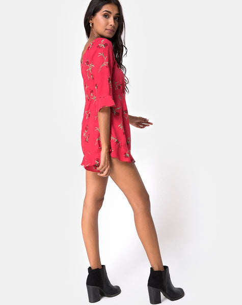 Altary Playsuit in Rouge Rose Pink by Motel