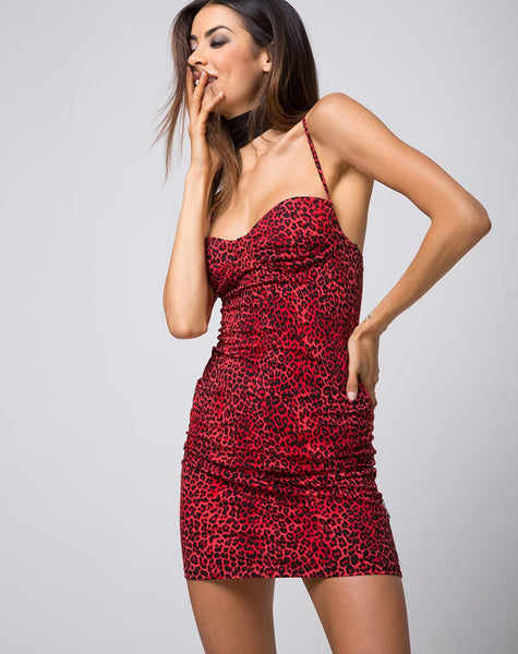 Alvina Bodycon Dress in Coloured Animal Red by Motel