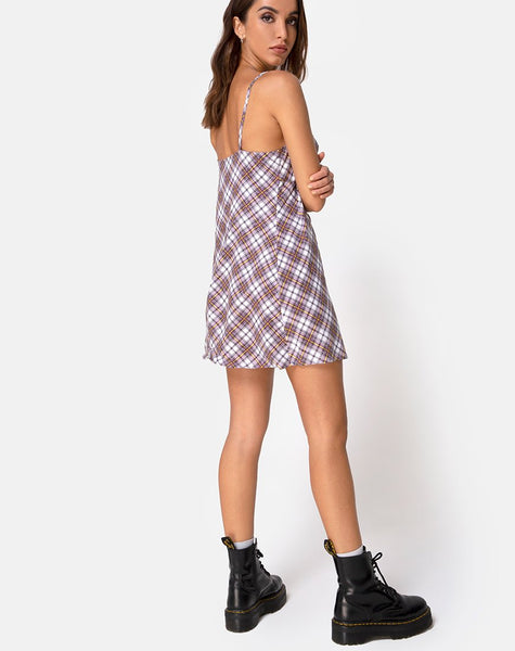 Andin Slip Dress in Grunge Check Purple by Motel