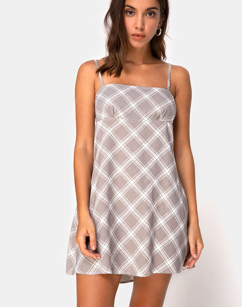 Andin Slip Dress in Grunge Check Taupe by Motel