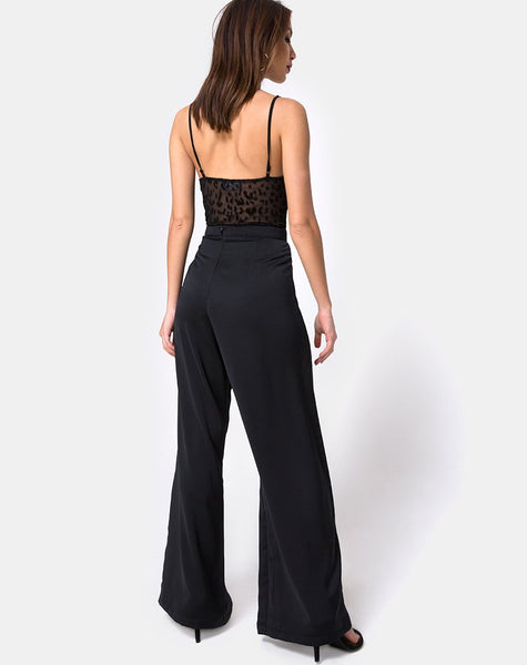 Ari Palazo Trouser in Satin Black by Motel