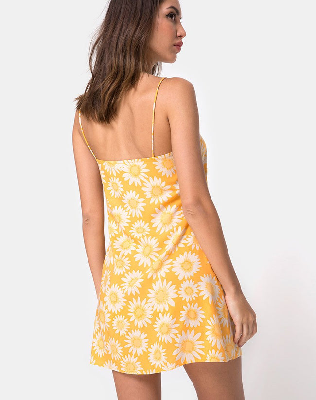 Auvaly Slip Dress in Sunkissed Floral Yellow by Motel