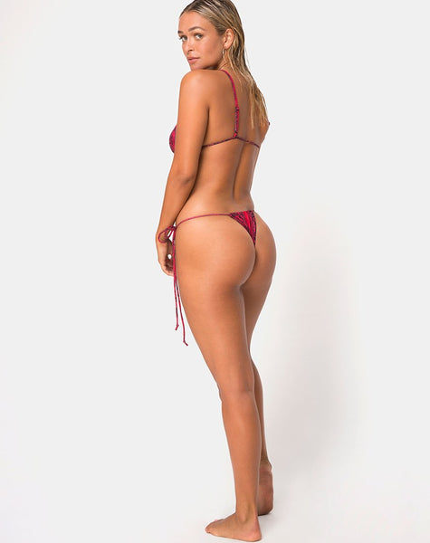 Ava Bikini Bottom in Red Snake by Motel
