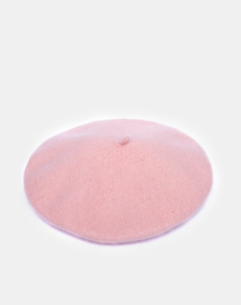 Wool Beret Hat in Baby Pink By Motel