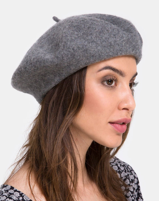 Wool Beret in Grey By Motel