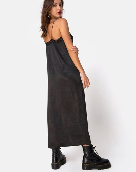 Batilia Maxi Dress in Satin Black by Motel