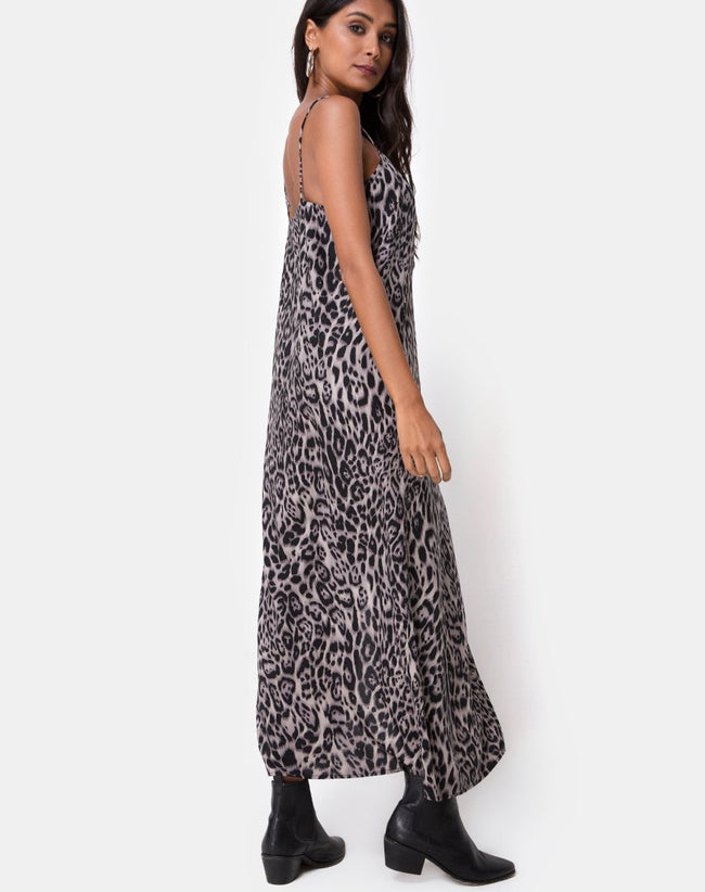 Batis Maxi Dress in Leopard Grey by Motel