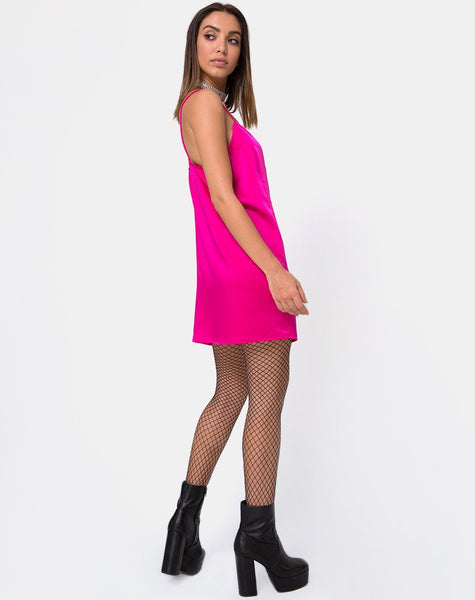 Batista Slip Dress in Fuchsia Satin Pink by Motel