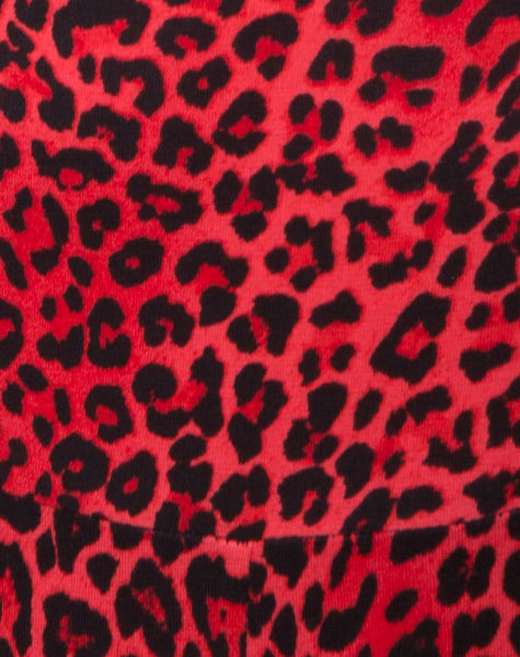 Bersh Plunge Unitard in Coloured Animal Red by Motel